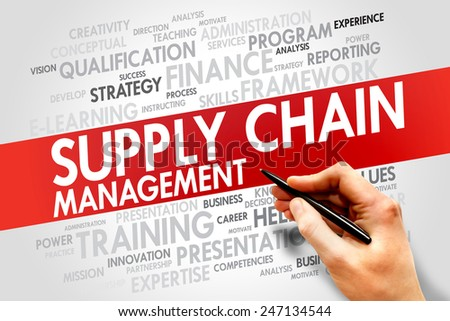 Supply Chain Management word cloud, business concept - stock photo