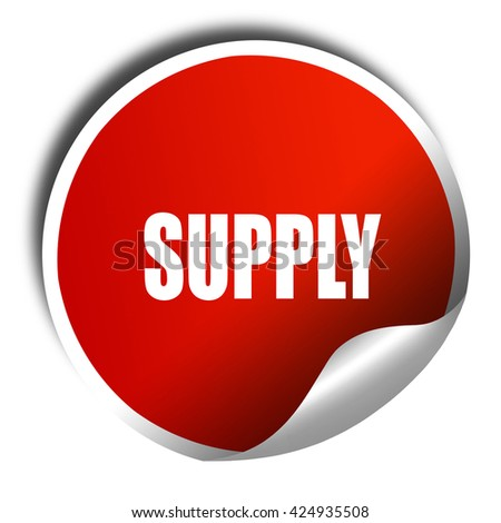 supply, 3D rendering, red sticker with white text - stock photo