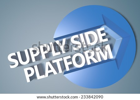 Supply Side Platform - 3d text render illustration concept with a arrow in a circle on blue-grey background