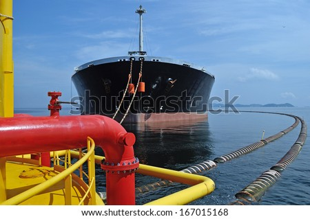 Supply vessel during operation along side with a drilling rig.  - stock photo