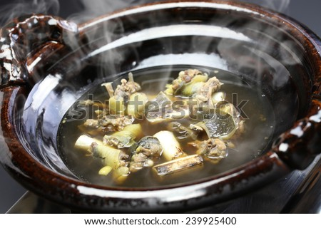 suppon nabe, japanese softshell turtle hot pot stew - stock photo