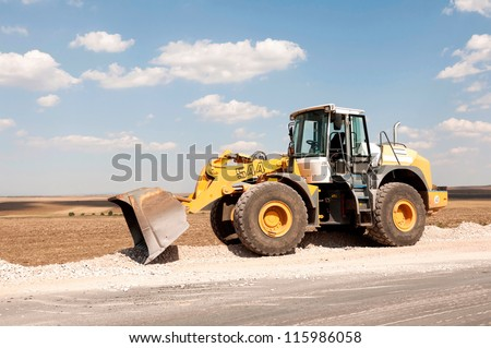 Support activities for the construction of a highway. Road under construction. - stock photo