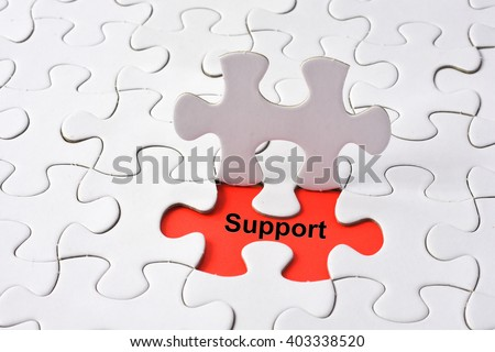 Support Assistance Cooperation Team Aid Concept on missing puzzle