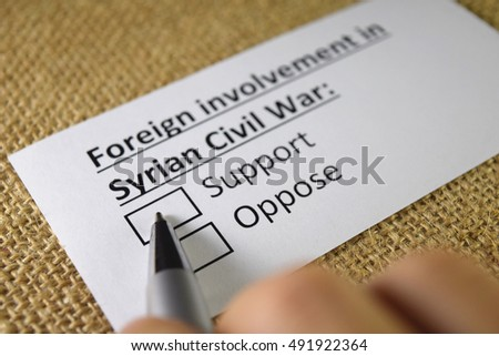 Support foreign involvement in Syrian Civil war?