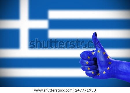 Support from European Union for Greece - stock photo