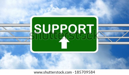 Support Green Road Sign  - stock photo