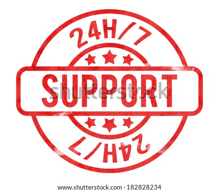 Support 24h Stamp - stock photo