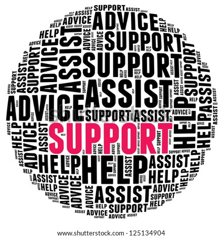 Support in word cloud - stock photo
