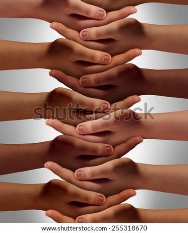Support network concept and people power from a multicultural society working together with respect to help one another achieve community success as a group of connected hands holding each other. - stock photo