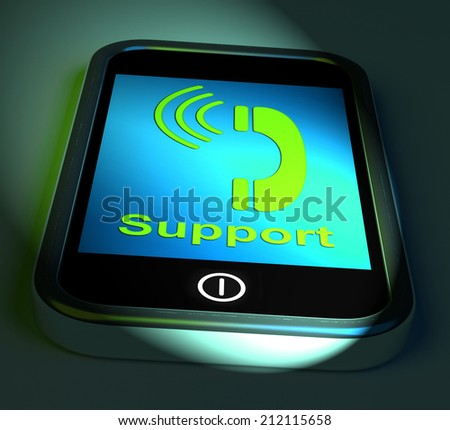 Support On Phone Showing Call For Advice - stock photo