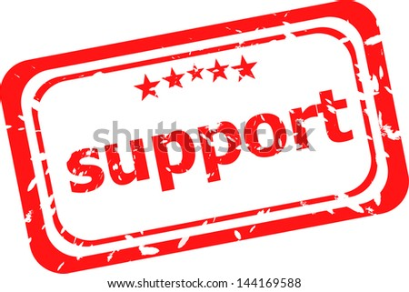 support on red rubber stamp over a white background, raster