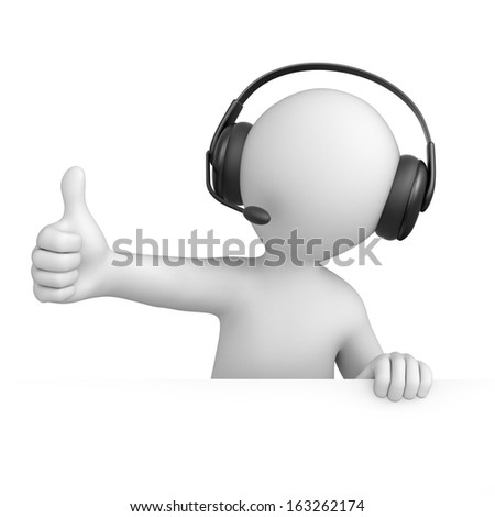 support operator with thumb up. 3d image with a work path - stock photo