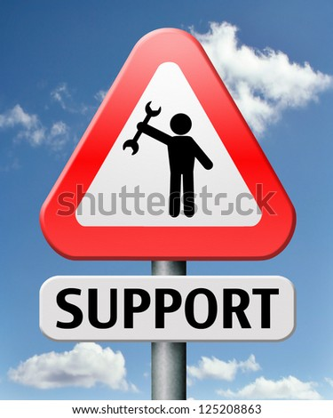 support or help desk online customer service or helpdesk and call center warning sign contact for information