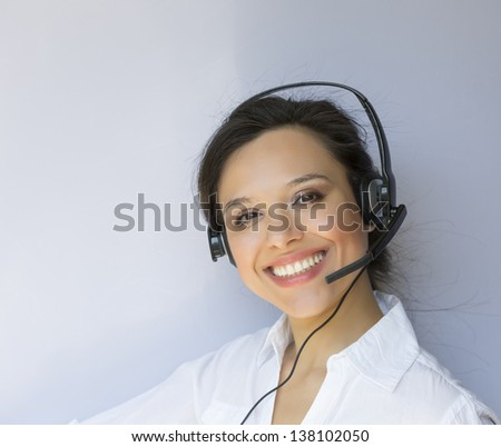 Support phone operator in headset - stock photo