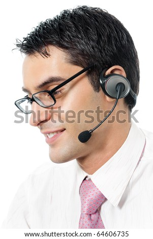 Support phone operator in headset at workplace, isolated on white background - stock photo