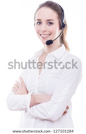 Support phone operator in headset, isolated - stock photo