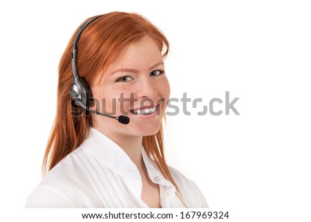 Support phone operator in headset, isolated - Stock Image - stock photo