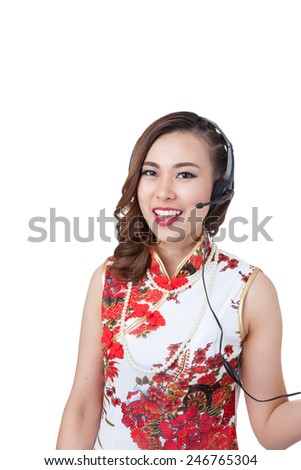 Support phone operator in headset. Smiling mixed chinese asian / caucasian woman. Isolated on white background. - stock photo