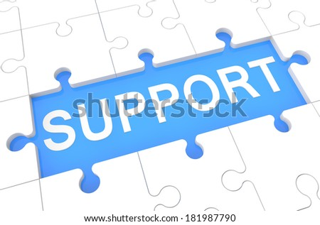 Support - puzzle 3d render illustration with word on blue background - stock photo