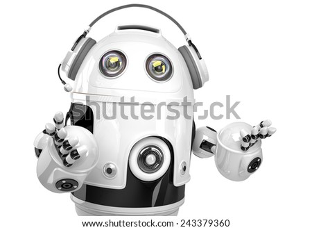 Support robot with headphone. Technology concept. Isolated. Contains clipping path. - stock photo