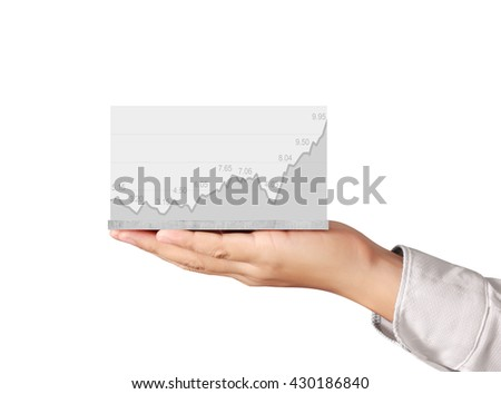 support stock financial graph in hand - stock photo