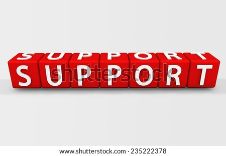 Support Text Isolated on White - stock photo