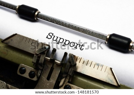 Support text on typewriter