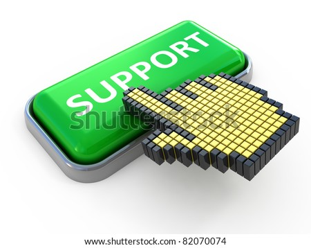 Support web button. Computer icon isolated on white