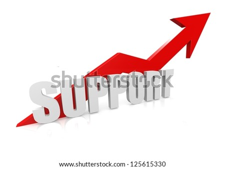 Support with upward red arrow - stock photo