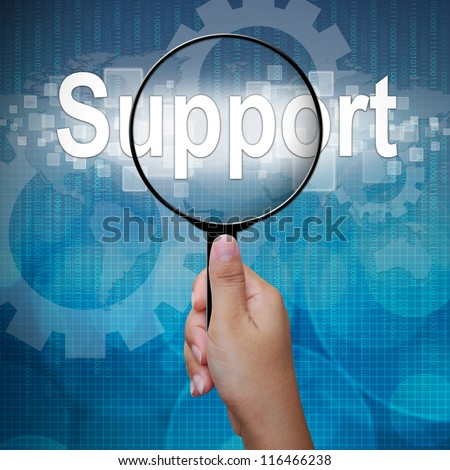Support, word in Magnifying glass ,business background - stock photo