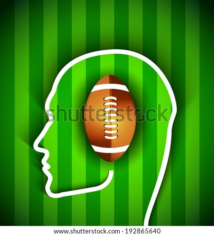 Supporters head with rugby,football American  ball - Rugby,American football supporters - Illustration - stock photo