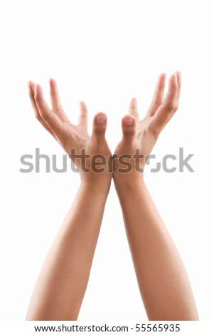 Supporting hands gesture of dark skin tone, against white background