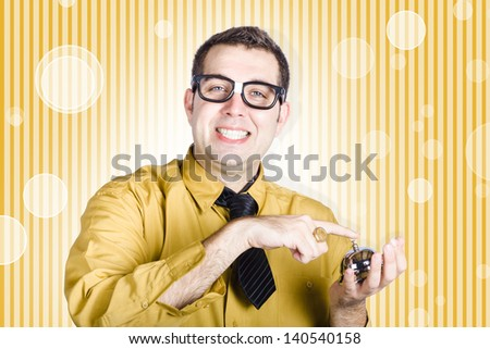 Supportive male customer service salesman pressing buzzer on hotel concierge bell. Help is at hand - stock photo
