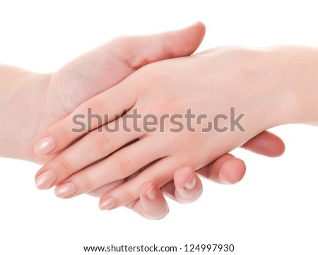 supports the man's hand a gentle woman's hand - stock photo