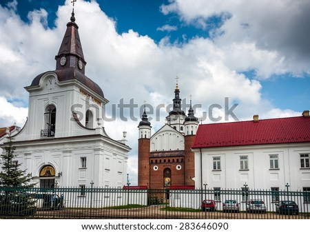 SUPRASL, POLAND - MAY 11, 2010: Suprasl bell tower and Orthodox Church. Monastery of the Annunciation. Poland XVIth century. Podlaskie Voivodeship - stock photo