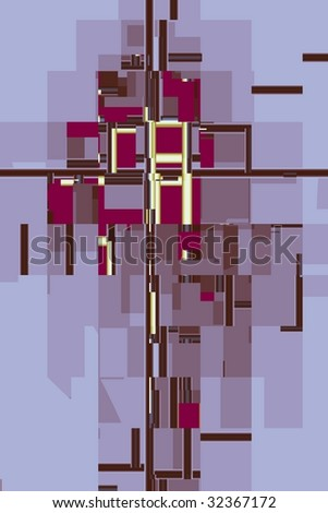Suprematism-style art, computer-generated image - stock photo