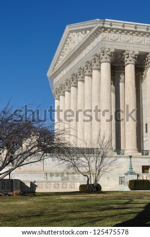 Supreme Court Building in the Winter - stock photo