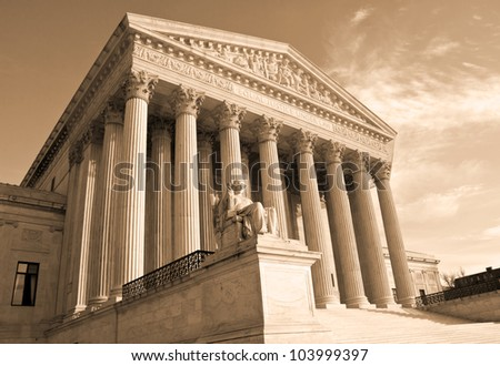 Supreme Court building in Washington, DC, United States of America - sephia