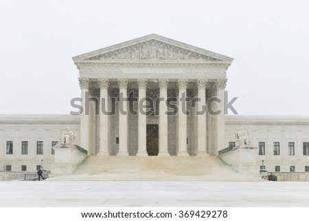 Supreme Court of United States in blizzard - Washington DC USA - stock photo