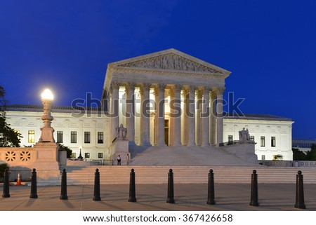 Supreme Court of United States - Night shot - stock photo