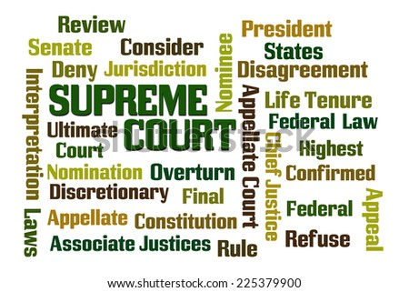 Supreme Court word cloud on white background - stock photo