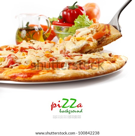 Supreme Pizza lifted slice with tuna and paprika isolated over white background. - stock photo