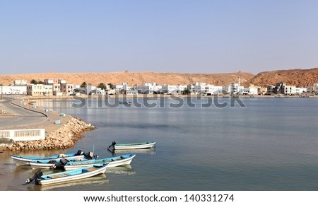 Sur historical fishing town and harbor, Oman - stock photo
