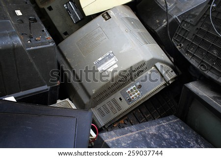 Suratthani,Thailand,February 2,2015 :Junked  computer monitors and tvs  for recycling . - stock photo
