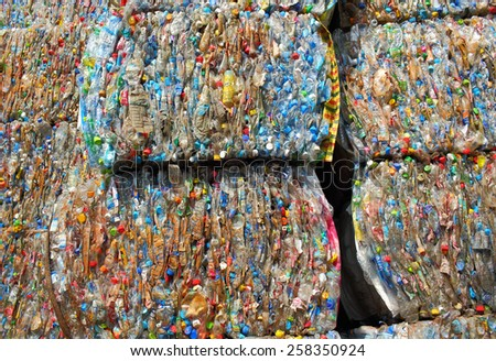 Suratthani,Thailand,February 2,2015:Plastic bottles pressed and packed for recycling . - stock photo