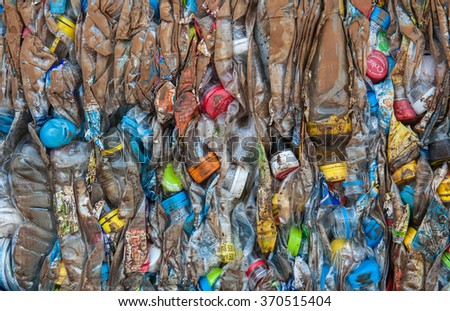 Suratthani,Thailand, January 30,2016: Plastic bottles of various drinks. The waste separation and recycling to get old.