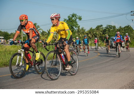 SURATTHANI THAILAND- Jul 11: The Cycling for charity for human healthy at the Kanjanadit Surat Thani District village. Jul 11,2015 in surat thani province,Thailand  - stock photo