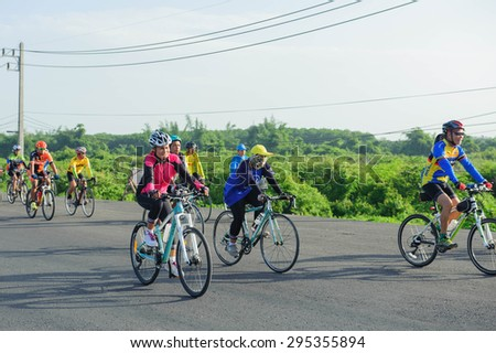 SURATTHANI THAILAND- Jul 11: The Cycling for charity for human healthy at the Kanjanadit Surat Thani District village. Jul 11,2015 in surat thani province,Thailand