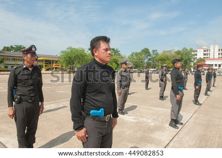 SURATTHANI THAILAND- July 7: Police trained to use firearms, tactical annual police academy. July 7, 2016 in Surat thani province,Thailand