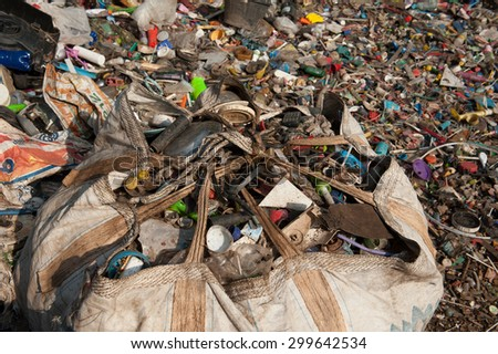 Suratthani,Thailand, July 24,2015:Waste from Electrical Blackout plastic scrap and paper mill waste to be recycled.